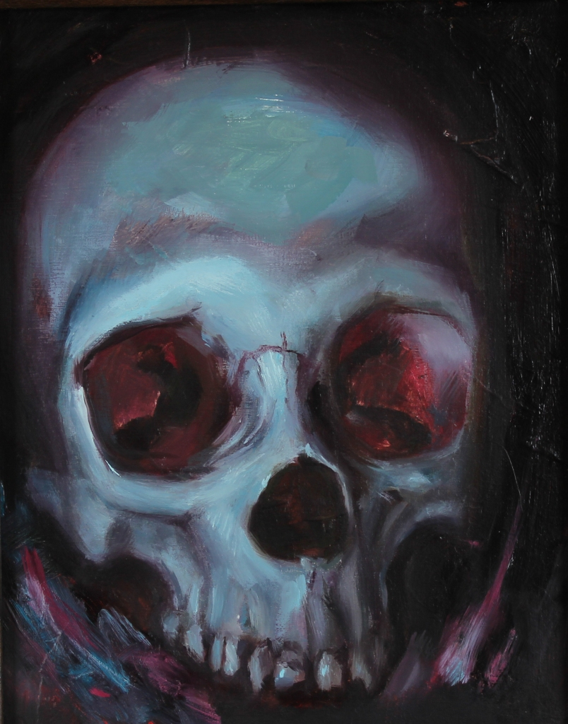 "Anthony Cramer - ""Night Skull - Blue"" - 8x10"", oil on linen panel"