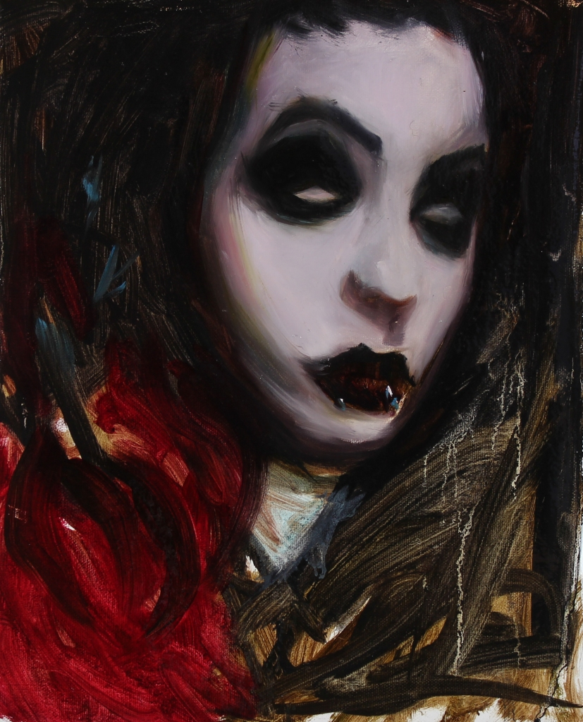 """Black and Red"" Study, 8x10"", oil on linen"